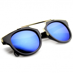 Fashion Plastic Retro Sunglasses with Color Mirror Lens