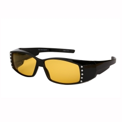 Rhinestone Fit Over Sunglasses with Night Driving Polarized Lens