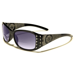 Womens Designer Bifocal Sunglasses with Rhinestones