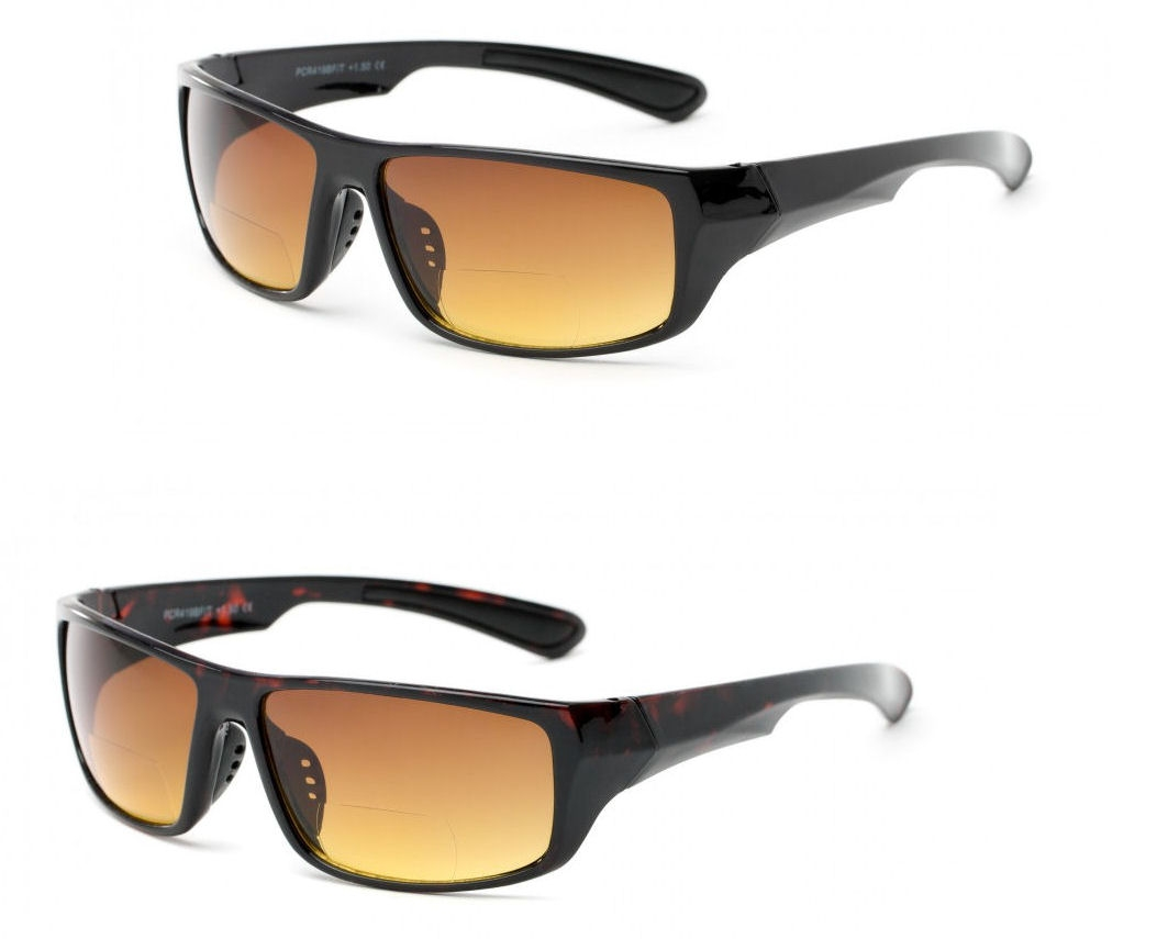 2 Pair of The Driver Unisex High Density (HD) Bifocal Driving Sunglasses